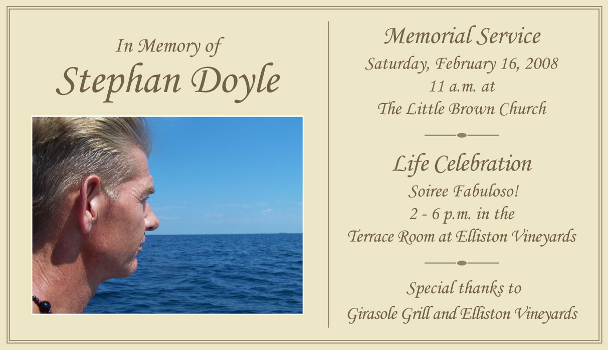 Celebration Of Life Quotes Stephan's Memorial And Life Celebration  Stephan Doyle